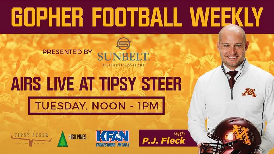 Gopher football weekly tuesday, noon - 1pm